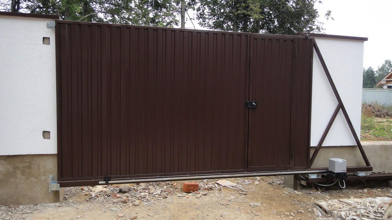 Ремонт ворот откатных коричневых