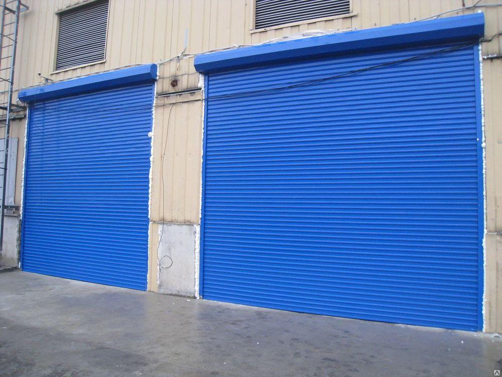 Голубые рулонные ворота для завода