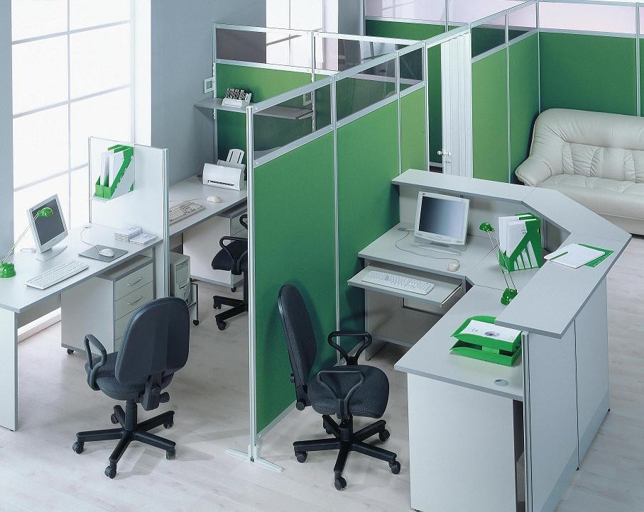Тканевые мобильные перегородки зелёного цвета