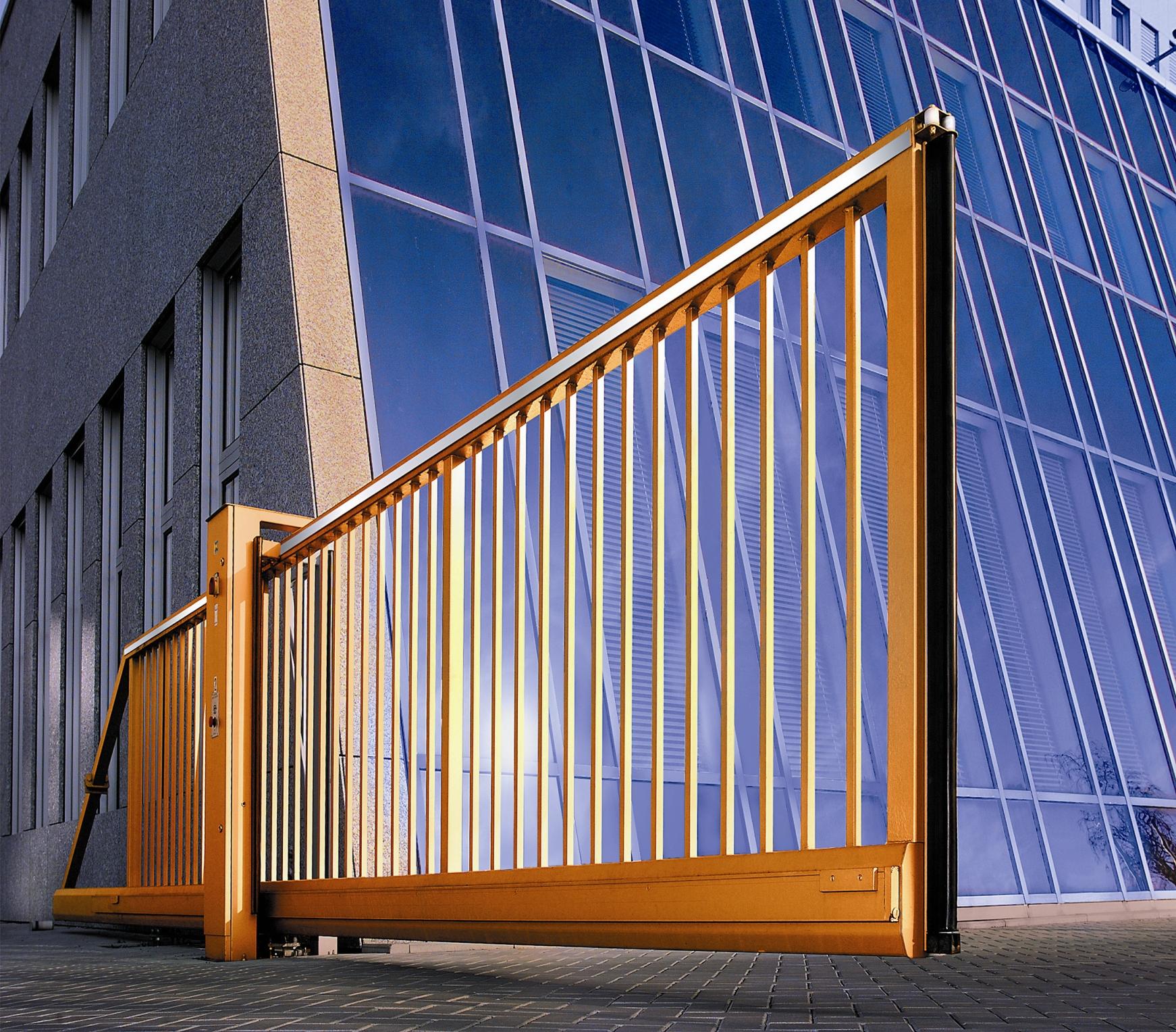 Откатные жёлтые автоматические ворота для научного центра