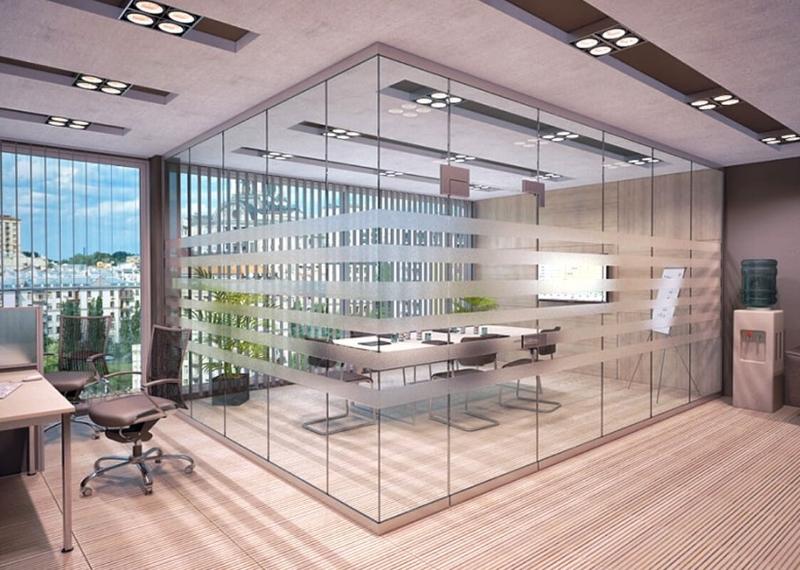 Перегородки из стекла для офиса с рисунком