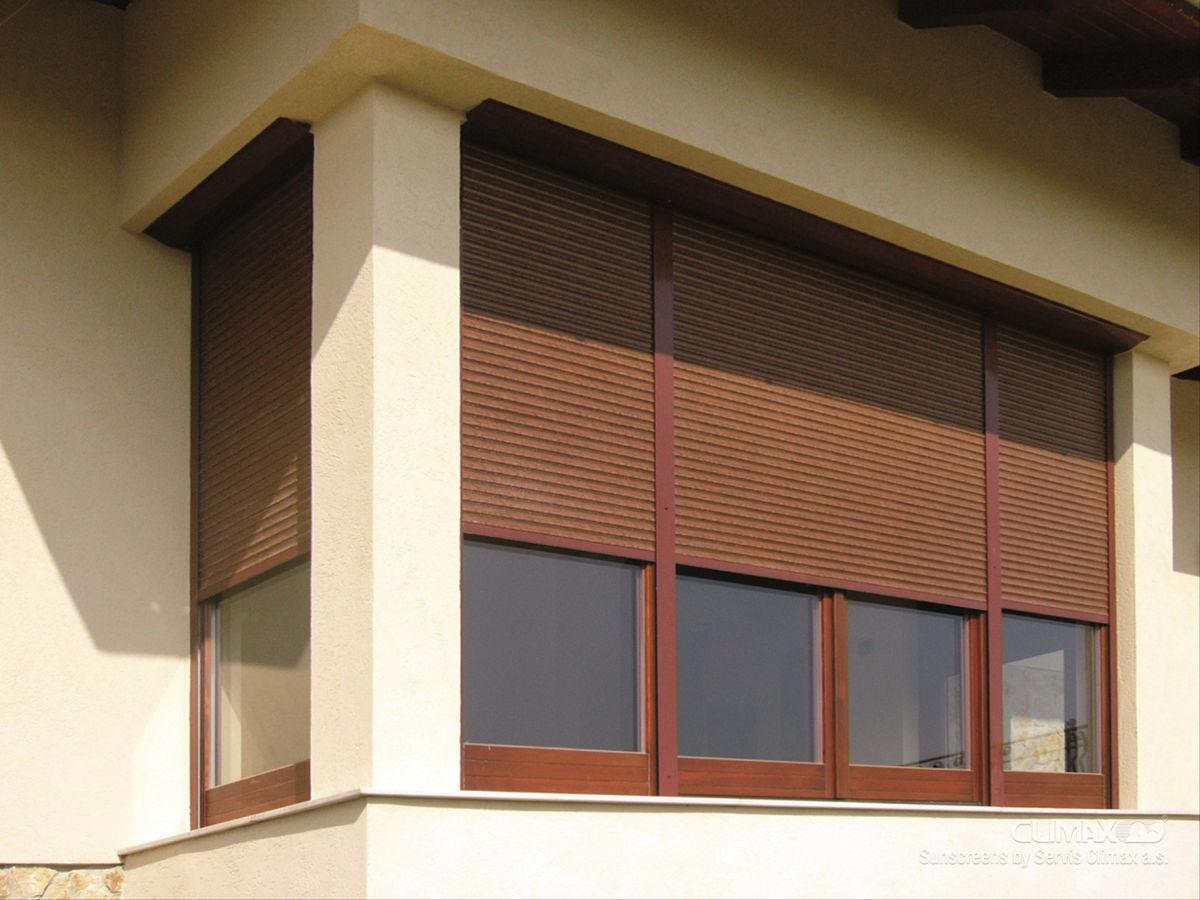Коричневые рольставни для балкона