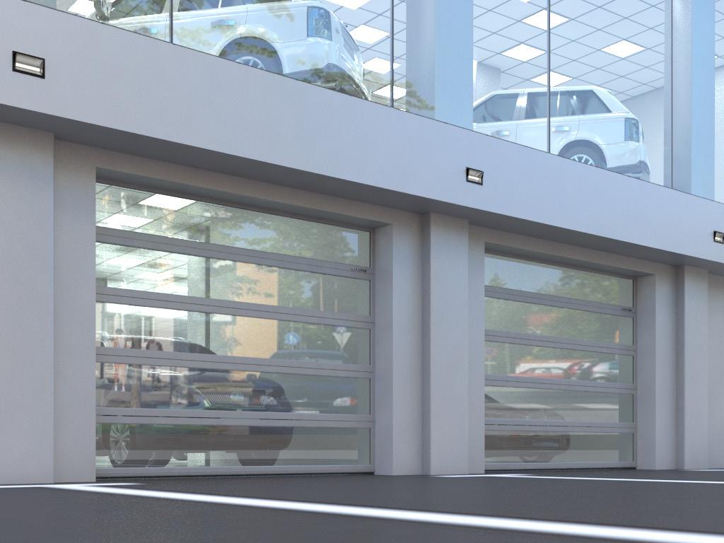 Панорамные секционные ворота для автосалона