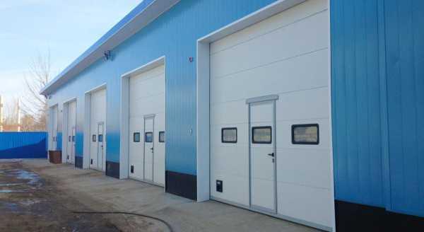 Ворота промышленные с калиткой и прозрачными вставками